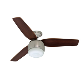 Hunter 52-in Brushed Nickel Downrod Mount Indoor Ceiling Fan with Light Kit (3-Blade)