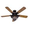 Hunter Northshore 52-in New Bronze Downrod Mount Indoor/Outdoor Ceiling Fan with Light Kit