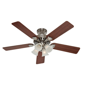 shop hunter 52 in 5 minute brushed nickel ceiling fan with light kit. Black Bedroom Furniture Sets. Home Design Ideas