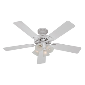Hunter 52-in 5-Minute White Ceiling Fan with Light Kit
