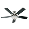 Hunter 52-in 5-Minute Waldon Brushed Nickel Ceiling Fan with Light Kit