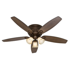Hunter Wellesley Low Profile 52-in Northern Sienna Flush Mount Indoor Ceiling Fan with Light Kit