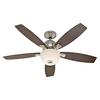Hunter 52-in Dimensions Brushed Nickel Ceiling Fan with Light Kit