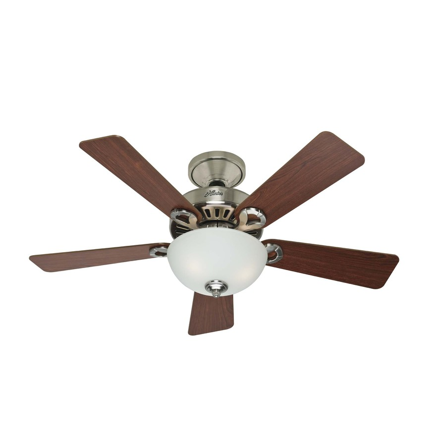 shop hunter 44 in 5 minute brushed nickel ceiling fan with light kit. Black Bedroom Furniture Sets. Home Design Ideas
