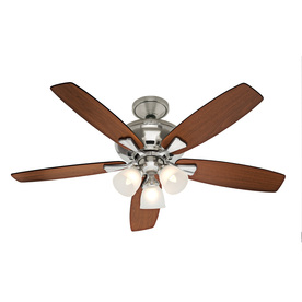 shop hunter 52 in winslow brushed nickel ceiling fan with light kit at. Black Bedroom Furniture Sets. Home Design Ideas