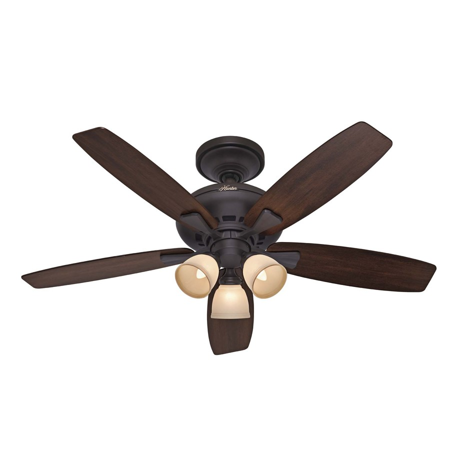 hunter 52 in winslow new bronze ceiling fan with light kit at lowes. Black Bedroom Furniture Sets. Home Design Ideas