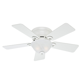 Hunter Conroy 42-in Snow White Flush Mount Indoor Ceiling Fan with Light Kit