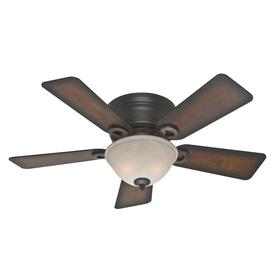 Hunter Conroy 42-in Onyx Bengal Bronze Flush Mount Indoor Ceiling Fan with Light Kit