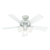 Hunter 44-in Ridgefield Five Minute White Ceiling Fan with Light Kit