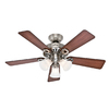 Hunter 44-in Ridgefield Five Minute Brushed Nickel Ceiling Fan with Light Kit