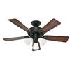 Hunter Ridgefield 5 Minute Fan 44-in New Bronze Downrod or Close Mount Ceiling Fan with Light Kit