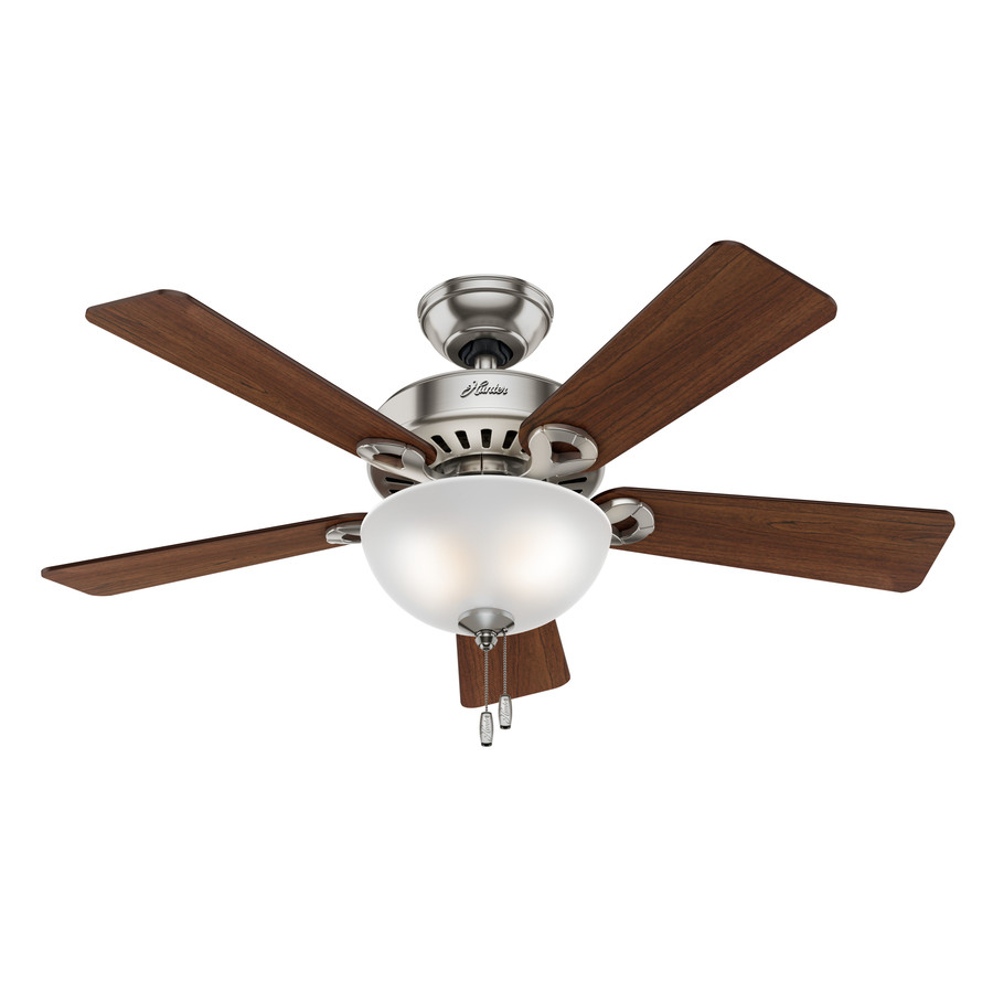 nickel downrod or flush mount ceiling fan with light kit at. Black Bedroom Furniture Sets. Home Design Ideas
