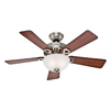 Hunter 44-in Ridgefield Bowl Five Minute Brushed Nickel Ceiling Fan with Light Kit
