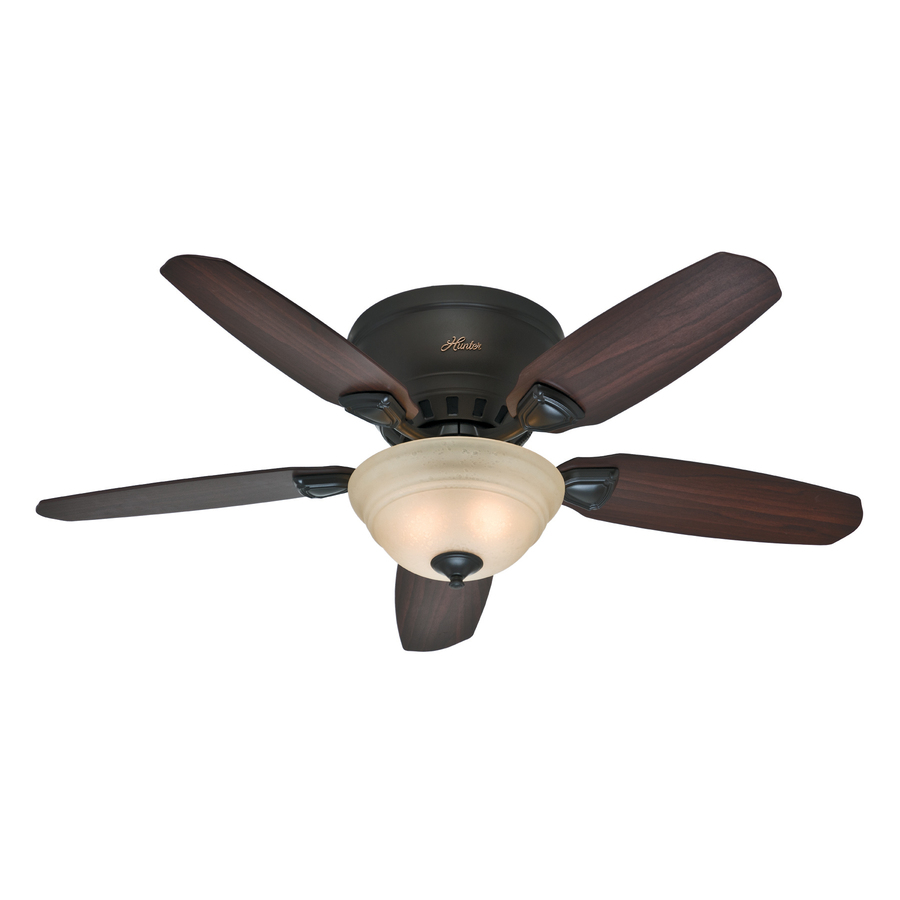 shop hunter louden 46 in premier bronze flush mount ceiling fan with light kit at. Black Bedroom Furniture Sets. Home Design Ideas