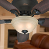 Hunter Louden 46-in Premier Bronze Flush Mount Indoor Ceiling Fan with Light Kit