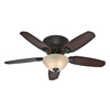 Hunter 46-in Louden Low Profile Premier Bronze Ceiling Fan with Light Kit