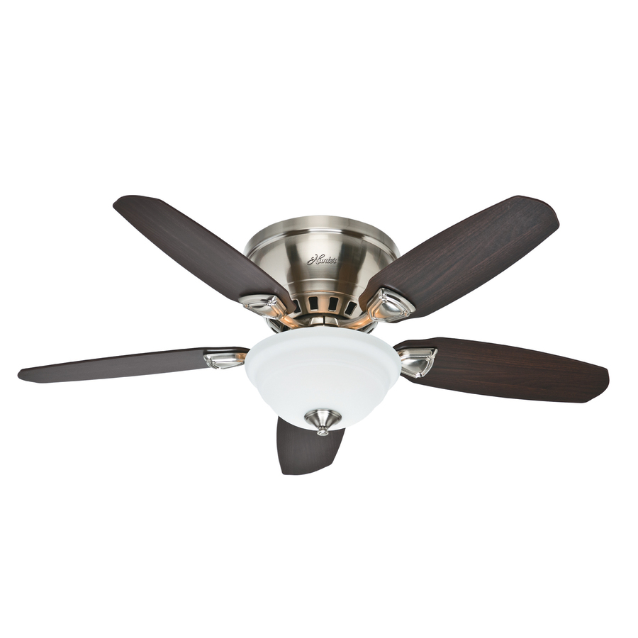 Shop Hunter Louden 46-in Brushed Nickel Flush Mount Ceiling Fan with Light Kit at Lowes.com