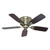 Hunter Low Profile IV 42-in Antique Brass Flush Mount Indoor Ceiling Fan