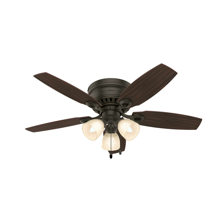 46 in new bronze flush mount ceiling fan with light kit at. Black Bedroom Furniture Sets. Home Design Ideas