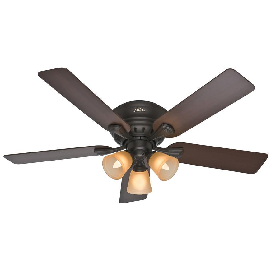 in premier bronze flush mount ceiling fan with light kit at. Black Bedroom Furniture Sets. Home Design Ideas