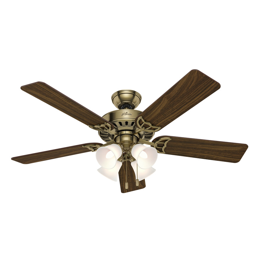 brass downrod or flush mount ceiling fan with light kit at. Black Bedroom Furniture Sets. Home Design Ideas