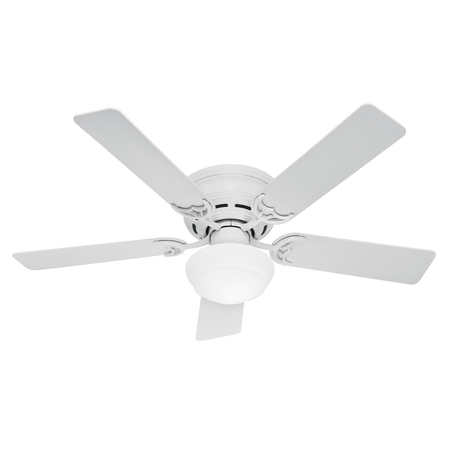 Shop hunter low profile iii plus 52 in white flush mount Home depot kitchen ceiling fans
