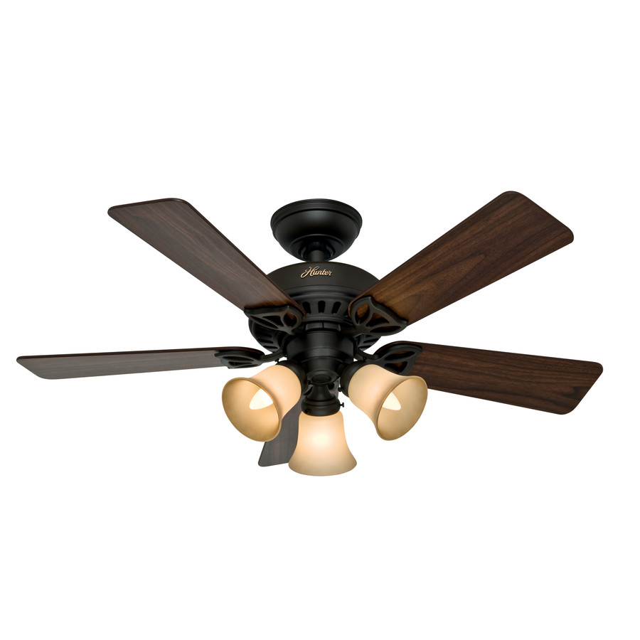 bronze downrod or flush mount ceiling fan with light kit at. Black Bedroom Furniture Sets. Home Design Ideas