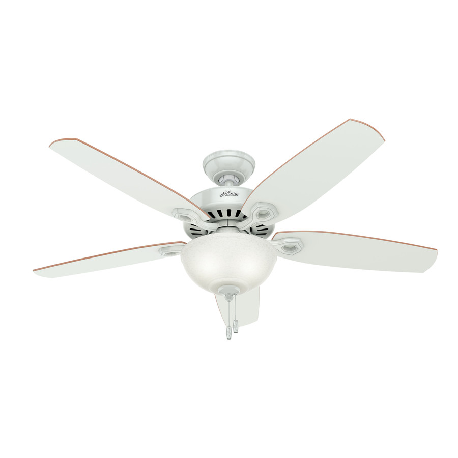 white downrod or flush mount ceiling fan with light kit at. Black Bedroom Furniture Sets. Home Design Ideas
