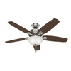 Hunter Builder Deluxe 52-in Downrod or Close Mount Indoor Ceiling Fan with Light Kit (5-Blade)