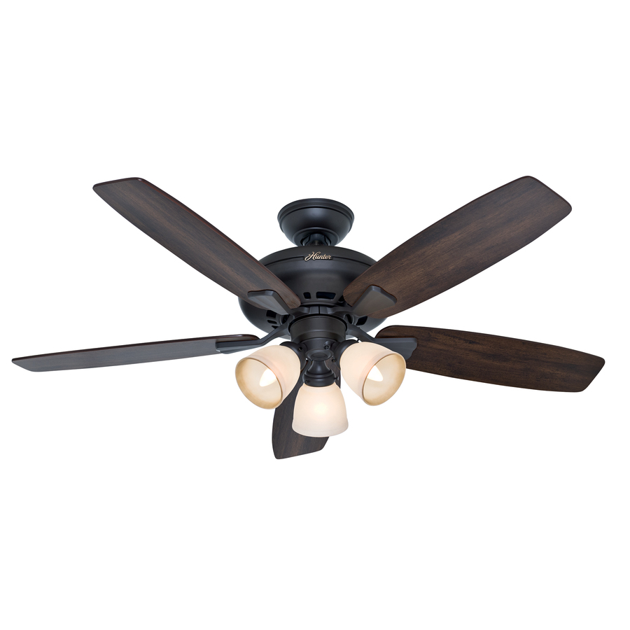 shop hunter winslow 52 in new bronze downrod or flush mount ceiling fan with light kit at. Black Bedroom Furniture Sets. Home Design Ideas
