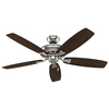Hunter Winslow 52-in Brushed Nickel Downrod or Close Mount Indoor Ceiling Fan with Light Kit