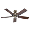 Hunter The Savoy 52-in Antique Brass Downrod or Close Mount Indoor Ceiling Fan ENERGY STAR