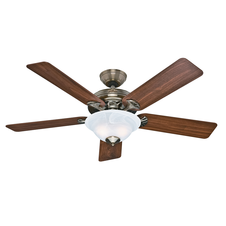 Old Ceiling Fans : Shop hunter the brookline in antique brass downrod or