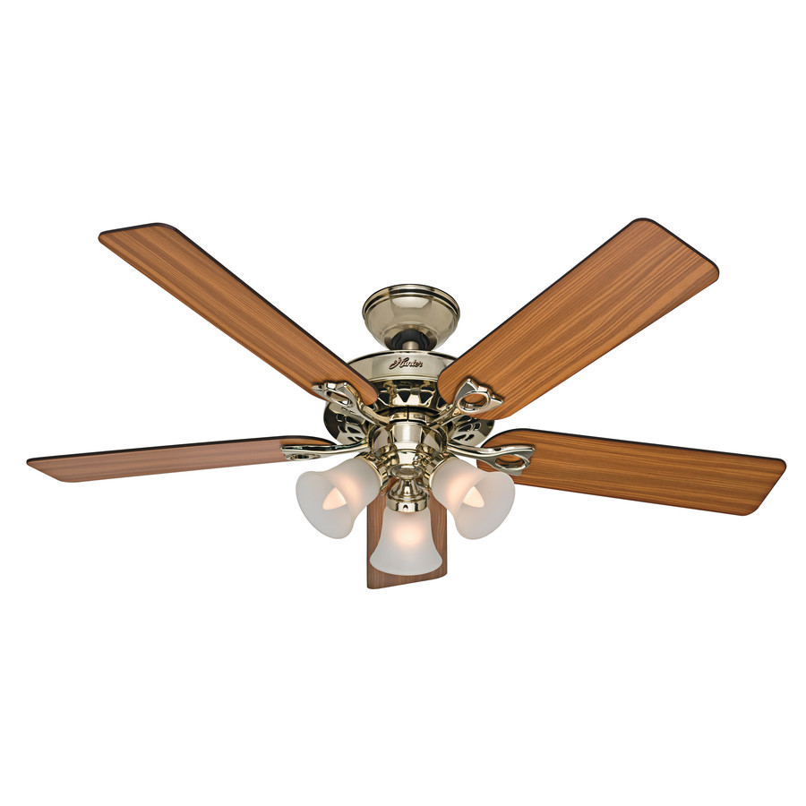 Ceiling Fans With Brightest Lights : Hunter the sontera in bright brass downrod
