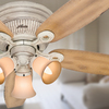 Hunter Wellesley Low Profile 52-in Burnished Creme Flush Mount Indoor Ceiling Fan with Light Kit