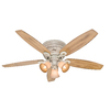 Hunter 52-in Wellesley Low Profile Burnished Creme Ceiling Fan with Light Kit