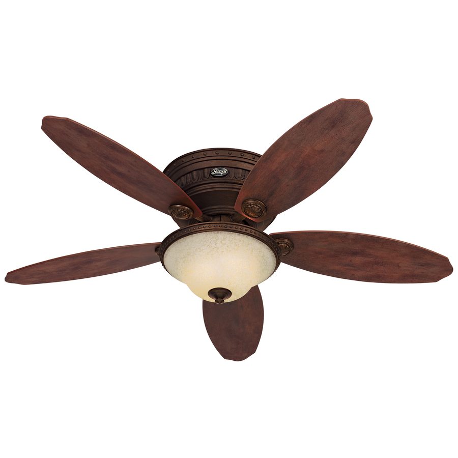 52 in tuscan gold flush mount ceiling fan with light kit at. Black Bedroom Furniture Sets. Home Design Ideas