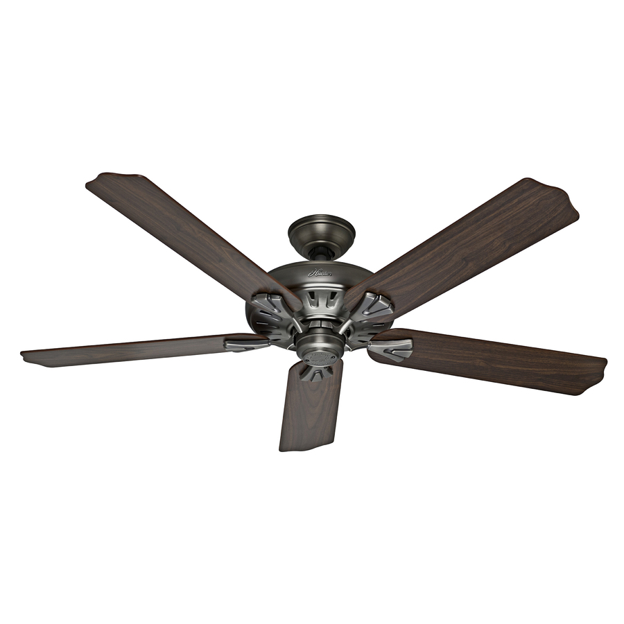 Shop hunter the royal oak 60 in antique pewter downrod or for Hunter flush mount ceiling fan with remote control