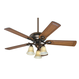 Prestige by Hunter Whitten 52-in Bronze Patina Downrod or Flush Mount Indoor Ceiling Fan with Light Kit