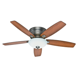 Hunter Low Profile IV Plus™ LED 52-in Antique Pewter Flush Mount Ceiling Fan Integrated LED with Light Kit