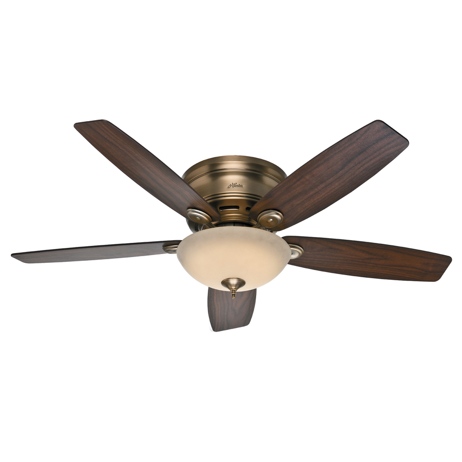 brushed bronze flush mount ceiling fan with led light kit at. Black Bedroom Furniture Sets. Home Design Ideas