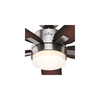 Hunter Windemere 54-in Brushed Nickel Downrod Mount Indoor Ceiling Fan with Light Kit and Remote Control