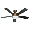 Hunter Palermo™ 52-in Brushed Bronze Downrod or Close Mount Indoor Ceiling Fan with Light Kit and Remote Control  ENERGY STAR