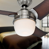 Hunter Eurus 54-in Brushed Nickel Downrod Mount Indoor Ceiling Fan with Light Kit and Remote (3-Blade)