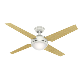 Hunter Sonic 52-in White Downrod Mount Indoor Ceiling Fan with Light Kit and Remote (4-Blade) ENERGY STAR