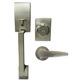 Shop Gatehouse Parma Satin Nickel Single Lock Keyed Entry Door Handleset At L