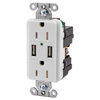 Hubbell 15-Amp 125-Volt White Indoor Decorator Wall Outlet/USB