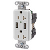Hubbell 20-Amp 125-Volt White Indoor Decorator Wall Outlet/USB