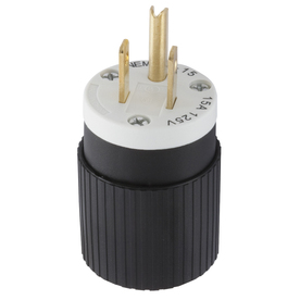 Hubbell 15-Amp 125-Volt Black/White 3-Wire Plug