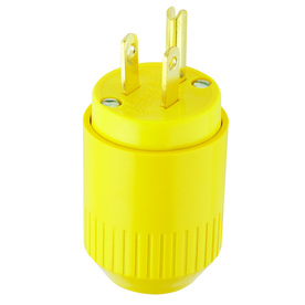 Hubbell HUBBELL, 15 AMP 125 VOLT, YELLOW, 2-POLE, 3-WIRE, THERMOPLASTIC, PLUG, NEMA 5-15P